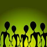 främlingen figures grön invasion Royaltyfria Bilder