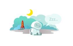 Främlingen roboten har ankommit på raket och sover Sammanträde för vinterdvala för sömnfunktionsläge royaltyfri illustrationer