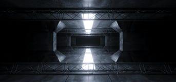 Främlingen Sci Fi ledde vita glödande mörka ljusa linjer i futuristiska moderna reflexioner för betong för Grunge för konstruktio royaltyfria bilder