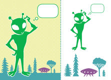 främmande confused green Arkivbilder