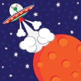 främmande födelsedagtryckvåg av deltagarespaceshipen royaltyfri illustrationer