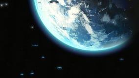 Främmande filmisk invasion för ufo över jord, hundratals metalliska skepp för utrymme för flygsaucers/som flyttar sig in mot anim stock illustrationer