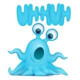 Främmande gigantiskt emojitecken för bläckfisk med uh-huh titel Royaltyfria Bilder