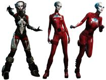 Främmande illustration för kvinnor 3D vektor illustrationer