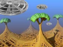 Främmande landskap för fantasi med ufo Arkivbild