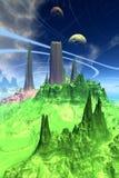 Främmande planet Berg framförande 3d Arkivbild