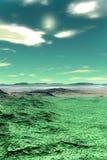 Främmande planet Berg framförande 3d Fotografering för Bildbyråer