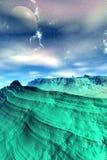 Främmande planet Berg framförande 3d Arkivfoto