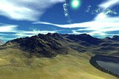 Främmande planet Berg och bevattnar framförande 3d Arkivfoto