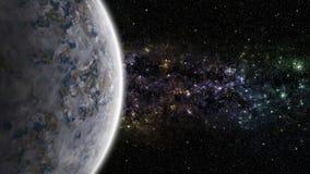 Främmande planet med nebulosan i det djupa utrymmet Arkivbilder