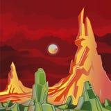 Främmande planetfantasivärld Vektor Illustrationer
