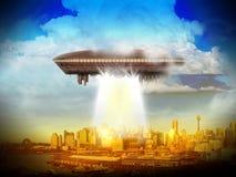 Främmande planetscience fictionplats Konstnärs återgivande Arkivfoto