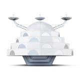 Främmande rymdskepp som isoleras på en vit bakgrund framförande 3d stock illustrationer