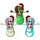 Främmande skelett- hejaklacksledare Snowmen Royaltyfri Foto