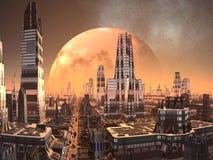 främmande stadsframtid över planetstigning Royaltyfri Bild
