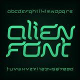 Främmande stilsort Abstrakt alfabetstilsort Utsmyckade typbokstäver och nummer vektor illustrationer