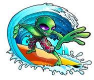 Främmande surfa vinkar Arkivbild