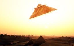 Främmande utrymmeskepp över pyramider vektor illustrationer
