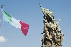 Främre Altare för staty della Patria i Rome Italien arkivfoto