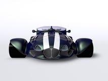 Främre blå tävlings- bil Arkivbild