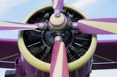 Främre del av litet ljust flygplan Royaltyfri Foto