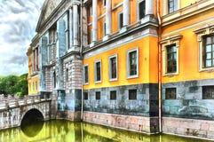 Främre fasad av den Mikhailovsky slotten i St Petersburg vektor illustrationer