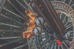 Främre gaffel och retro cykel för broms Royaltyfria Bilder