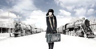 främre gammalt järnväg kvinnabarn arkivbilder