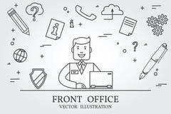Främre kontor Funderarelinje symbol vektor vektor illustrationer