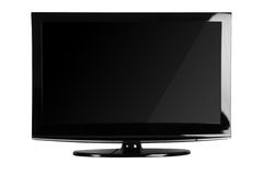 främre lcd-plasma sköt tv:n royaltyfria bilder