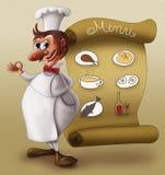 främre meny för kock Arkivbild