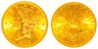 Främre och tillbaka guld- Liberty Head Coin Fotografering för Bildbyråer
