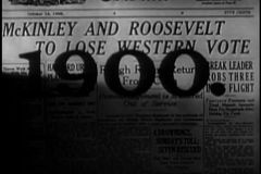 Främre räkning av tidningen från 1900 stock video