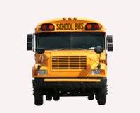 främre schoolbussikt royaltyfria bilder