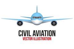 Främre sikt av borgerligt flygplan royaltyfri illustrationer