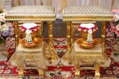 Främre sikt av bukettgarnering för thailändsk bröllopceremoni Royaltyfri Fotografi