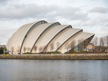 Främre sikt av Clyde Auditorium, Glasgow Arkivfoton