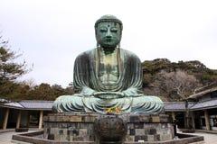 Främre sikt av Daibutsu den jätte- statyn i sammanträdeposition Royaltyfria Foton