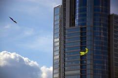 Främre sikt av den moderna glass skyskrapafasaden med kontrastgräsplandrakar på förgrunden Arkivfoto