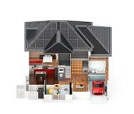Främre sikt av det smarta huset som isoleras på vit bakgrund Arkivbilder