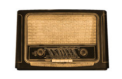 Främre sikt av en gammal radio Fotografering för Bildbyråer