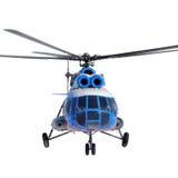 Främre sikt av en helikopter i flykten på vit bakgrund Royaltyfria Bilder