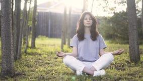Främre sikt av en ung kvinna som mediterar i en parkera lager videofilmer
