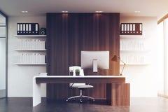 Främre sikt av ett kontor av företagshuvudet som tonas stock illustrationer