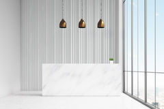 Främre sikt av ett vitt anseende för mottagandeskrivbord i en kontorskorridor Det finns tre lampor ovanför det och ett panorama-  royaltyfri illustrationer
