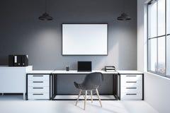 Främre sikt av modern workspace med datoren Royaltyfria Foton