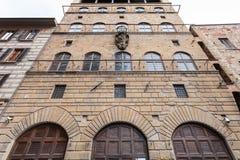 Främre sikt av Palazzo Davanzati, Florence stad Arkivfoto