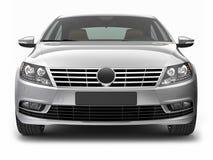 Främre sikt av silversedanbilen Royaltyfria Bilder