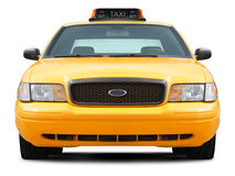 Främre sikt för gul taxibil Royaltyfri Fotografi