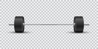 Främre sikt för härlig realistisk konditionvektor av en olympic skivstång med svarta järnplattor på genomskinlig bakgrund royaltyfri illustrationer